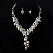 Silver Ivory Pearl Caterpillar Necklace & Earrings Jewelry Set 1042