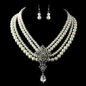 Antique Silver Ivory Pearl & Rhinestone Necklace & Earrings Jewelry Set 13178