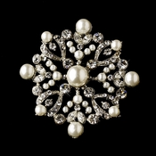 * Silver Clear & Ivory Pearl Brooch 137