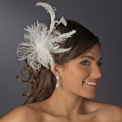 * Fabulous Ivory Feather Fascinator Bridal Comb or Clip 8989