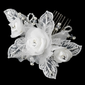 Diamond White Pearl & Swarovski Crystal & Bugle Bead Sheer Organza Fabric Flower Hair Comb 9718