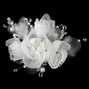 Diamond White Pearl, Swarovski Crystal Bead, Rhinestone & Chiffon Satin Mesh Sheer Organza Fabric Flower Hair Comb 9719