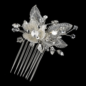 Silver Clear Swarovski Crystal, Bugle Bead & Rhinestone Diamond White Embroidered Fabric Flower Hair Comb 9728
