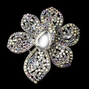 Antique Silver Clear AB and Black Rhinestone Flower Brooch 8798