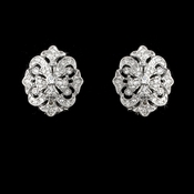 Rhodium Antique Silver Clear CZ Vintage Earring 3408