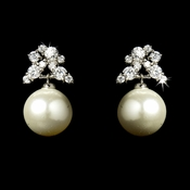 Antique Silver Cubic Zirconia & Diamond White Pearl Earring E 5152