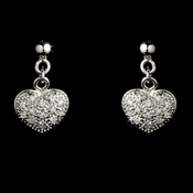 * Stunning Silver Clear CZ Pave Heart Earrings 4878  (1 Left)