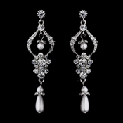 Lovely Antique Silver Chandelier Earrings w/ Clear Rhinestones & White Pearls 1065
