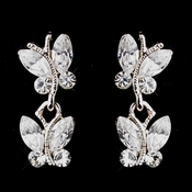Wonderful Silver Clear Austrian Crystal Butterfly Earrings 20239