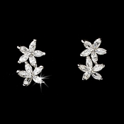 Lovely Silver Clear CZ Flower Earrings 2630