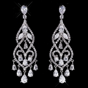 Fabulous Silver Clear CZ Chandelier Earrings 5554