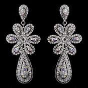 Charming Silver Clear & AB Crystal Flower Dangle Earrings 8587