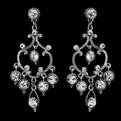 Exquisite Antique Silver Chandelier Earrings w/ Clear Crystals 8590