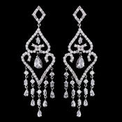 Stunning Silver Clear CZ Chandelier Earrings 8629