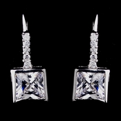 Gorgeous Silver Clear Princess Cut CZ Earrings 8630