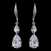 Delightful Silver Clear CZ Dangle Earrings 8631