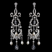 Fabulous Antique Silver Chandelier Earrings w/ Clear Crystals & Freshwater Pearls 8648