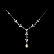 Silver Clear Cubic Zirconia Necklace & Freshwater Pearl Necklace 2508
