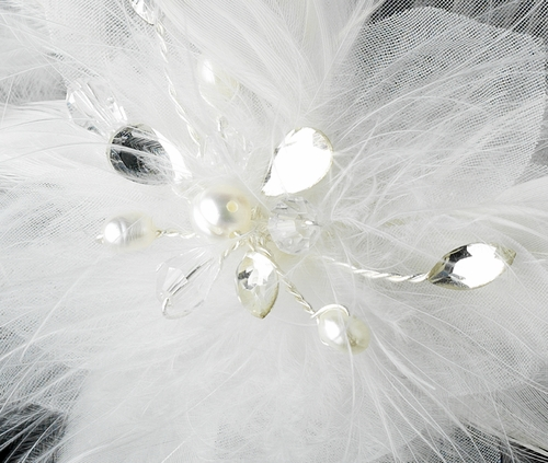 * Lovely White Feather Spray Birdal Hair Comb w/ Pearls & Rhinestones 8432