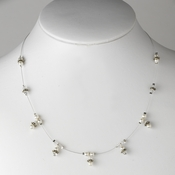 Antique Silver White Necklace 8373