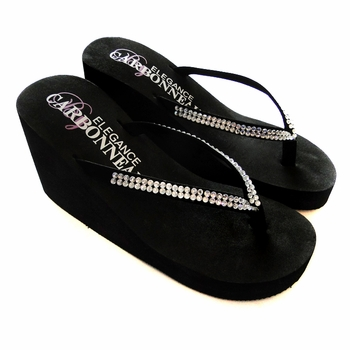 Crystals ~ Black High Wedge Bridal Flip Flops with Crystal Accented Suedene Strap