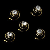 Gold with Clear Stones Hair Accents Twist In's 04 (Set  of 12)