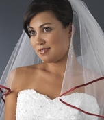 Veil with Red Satin Ribbon Edge Veil-655