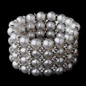 Luminous Silver Clear Rhinestone & White Pearl Stretch Bridal Bracelet 8709