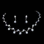 * Silver Blue Necklace Earring Set 386