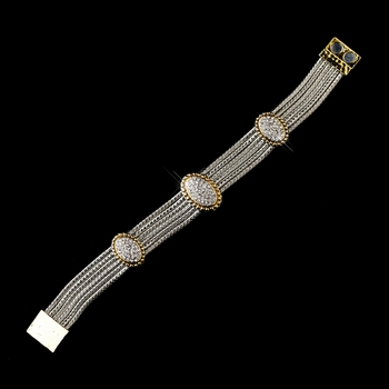 Braided Silver Clear with Gold Trim and Gold Clasp Bracelet 7970