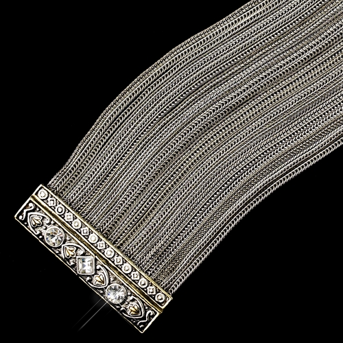 Braided Silver Wire with Silver Gold Clear Decorated Clasp Bracelet 7973