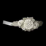 * Beaded Rhinestone Ivory Flower Sash Belt 1993