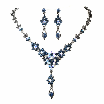 Silver Antique Navy Blue AB Necklace Earring Set 902