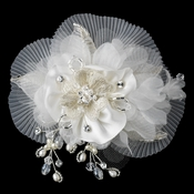 * Freshwater Pearl, Swarovski Crystal Beaded Diamond White Sheer Organza Fabric Flower Hair Clip 9733