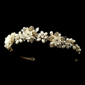 * Gold Freshwater Pearl & Rhinestone Ivory Porcelain Floral Tiara Headpiece 9613