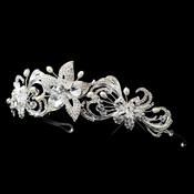 * Silver Freshwater Pearl, Swarovski Crystal Bead, and Rhinestone Floral Headband Headpiece 9702**Discontinued**