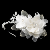 Silver Ivory Fabric Flower with Swarovski Crystal & Rhinestone Side Accented Matte Satin Fabric Flower & Mesh Petal Headband Headpiece 9714
