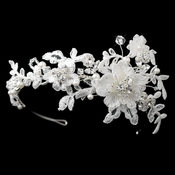 Silver Diamond White Pearl, Swarovski Crystal & Rhinestone Embroidered Fabric Flower Side Accented Headband Headpiece 9715