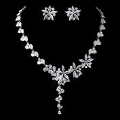Antique Silver Clear CZ Crystal Necklace & Earrings Jewelry Set 726