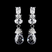 Silver Clear Crystal & Rhinestone Clip on Dangle Earrings 40468