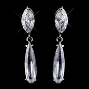 Silver Clear Marquise Cut CZ Dangle Earrings 9950