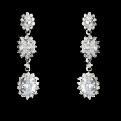 Cubic Zirconia triple oval drop earring 9044