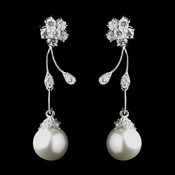 Antique Silver Diamond White Pearl & Clear CZ Crystal Earrings 8922