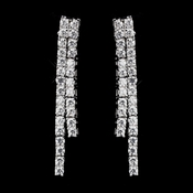 Antique Silver Clear CZ Crystal Earrings 8910