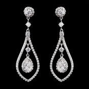 Antique Rhodium Silver Clear CZ Crystal Earrings 8928