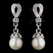 Silver Ivory Pearl & CZ Crystal Drop Earrings 8763