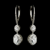 Antique Silver Clear Oval CZ Crystal Bridal Earrings 8778