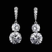 Antique Silver Clear CZ Earring Set 5294