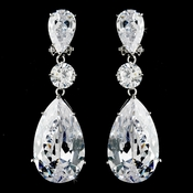 Breathtaking Large Cubic Zirconium Drop CZ Bridal Earrings E 5383 (clip on)