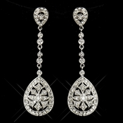 Enchanting Antique Silver Clear CZ Dangle Earrings 6500